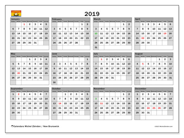 Calendar 2019, with the holidays of New Brunswick. Free printable bullet journal.