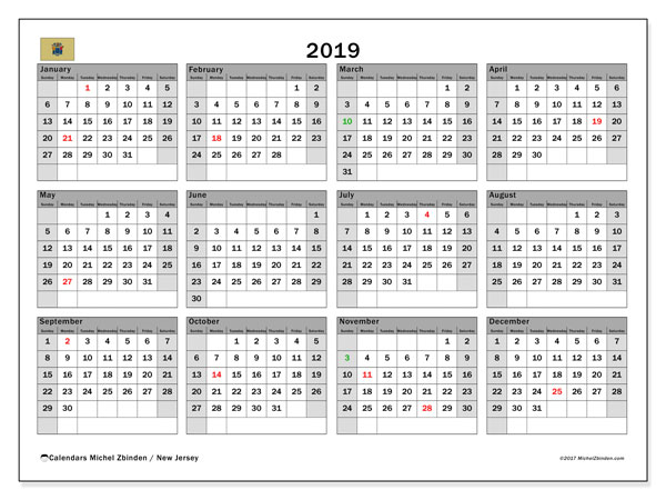 2019 Calendar, with the holidays of New Jersey. Free printable calendar with public holidays.