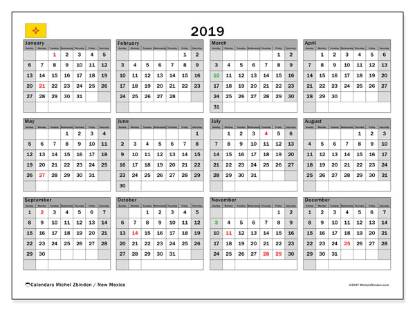 2019 Calendar, with the holidays of New Mexico. Free printable calendar with public holidays.