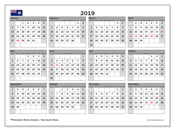 Calendar 2019, with the holidays of New South Wales. Free printable calendar.