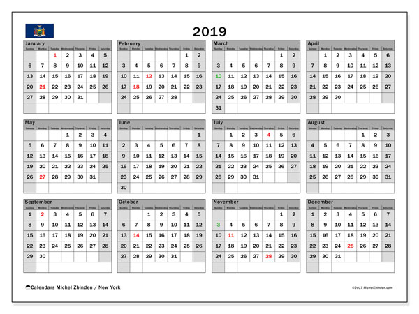 Calendar 2019, with the holidays of New York. Monthly planner to print free.