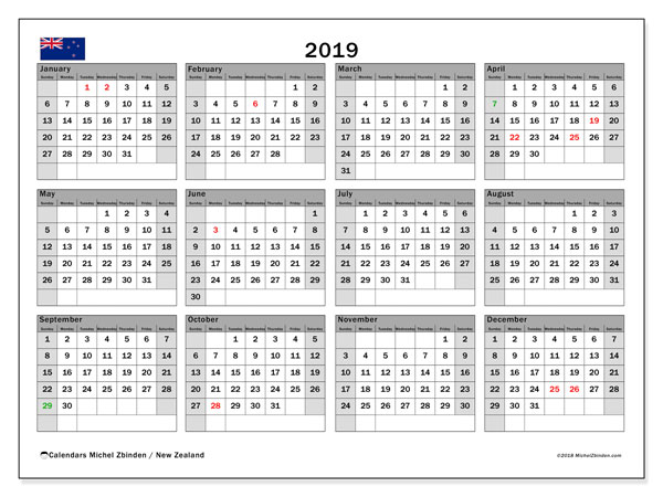 2019 Calendar, with the holidays of New Zealand. Holidays calendar to print free.