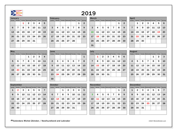 Calendar 2019, with the holidays of Newfoundland and Labrador. Planner to print free.