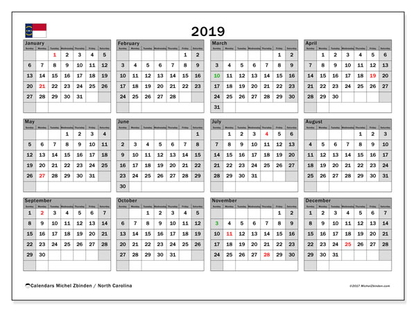 Calendar 2019, with the holidays of North Carolina. Free printable monthly calendar.