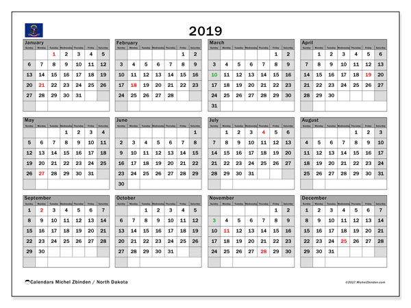 2019 Calendar, with the holidays of North Dakota. Free printable calendar with public holidays.