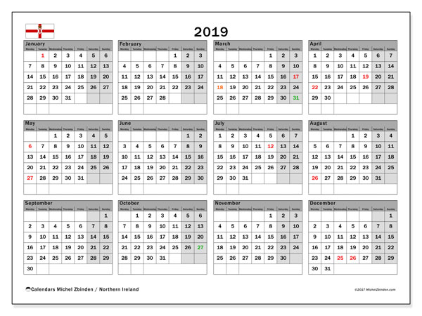 Free Printable 2019 Calendar With Uk Holidays.2019 Calendar Northern Ireland Uk Michel Zbinden En