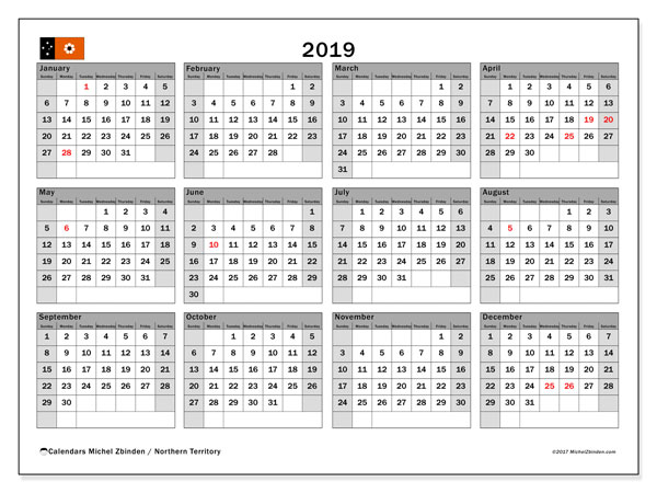Calendar 2019, with the holidays of Northern Territory. Free planner to print.