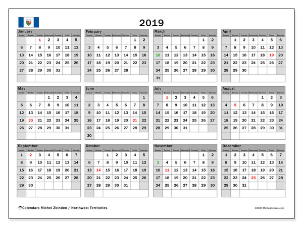 Calendar 2019, with the holidays of Northwest Territories. Planner to print free.