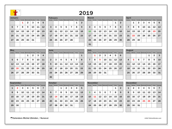 2019 Calendar, with the holidays of Nunavut. Free printable calendar with public holidays.