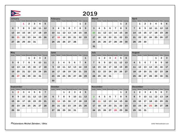 Calendar 2019, with the holidays of Ohio. Planner to print free.