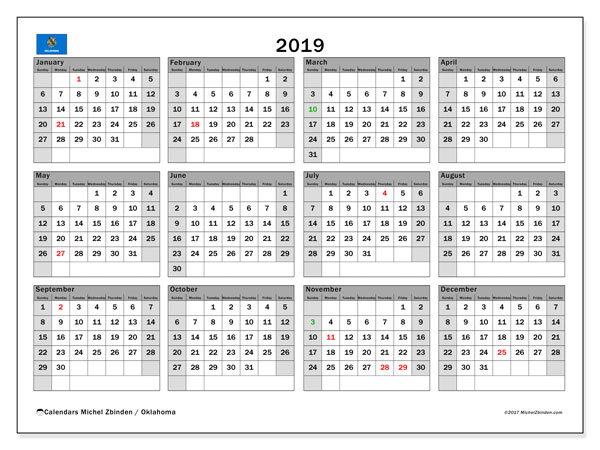 Calendar 2019, with the holidays of Oklahoma. Planner to print free.