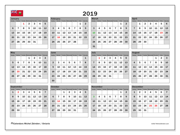 2019 Calendar, with the holidays of Ontario. Free printable calendar with public holidays.