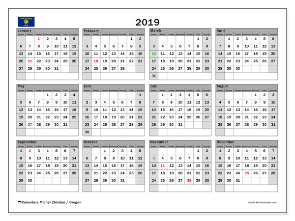 2019 Calendar, with the holidays of Oregon. Free printable calendar with public holidays.