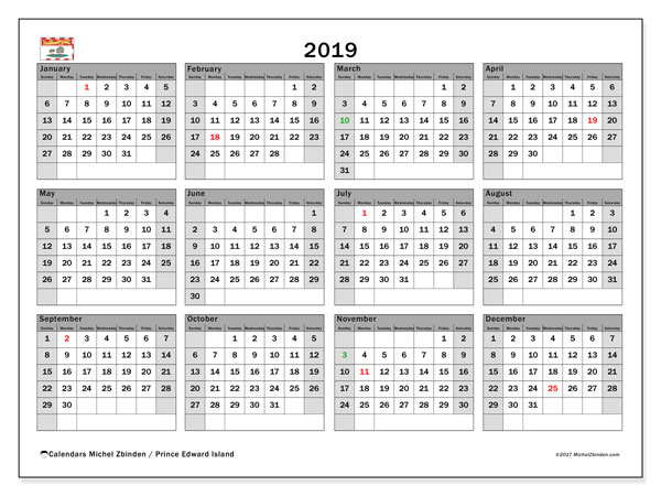 2019 Calendar, with the holidays of Prince Edward Island. Holidays calendar to print free.