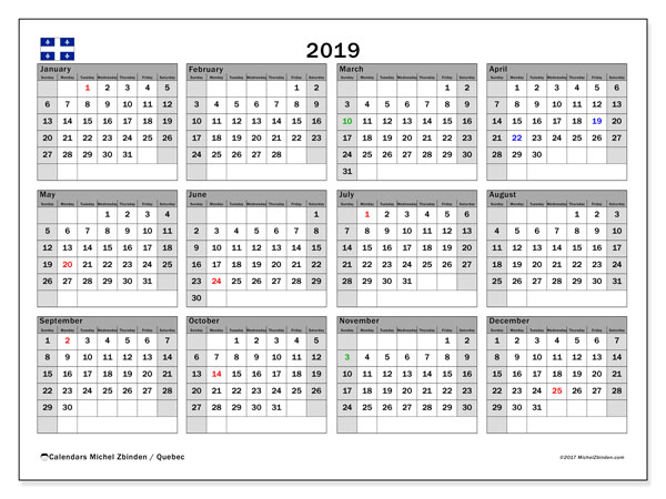 2019 Calendar, with the holidays of Quebec. Holidays calendar to print free.