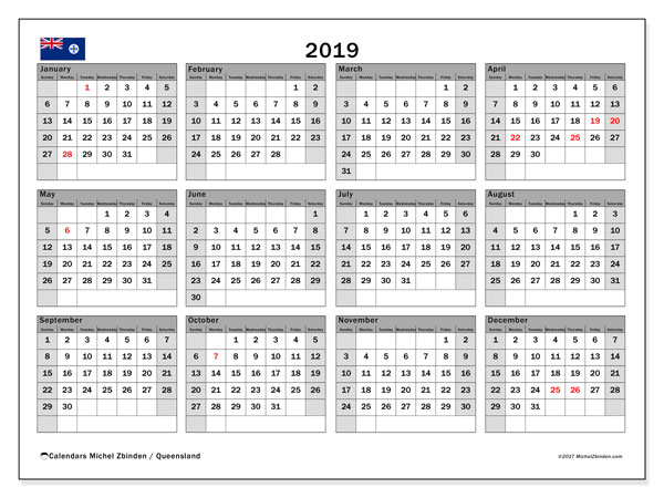 calendar 2019 with the holidays of queensland monthly planner to print free