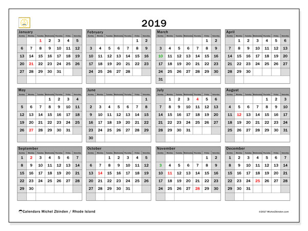 2019 Calendar, with the holidays of Rhode Island. Free printable calendar with public holidays.
