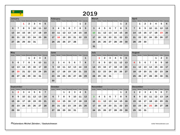 Calendar 2019, with the holidays of Saskatchewan. Free bullet journal to print.