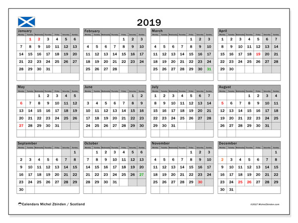 Calendar 2019, with the holidays of Scotland. Free printable planner.