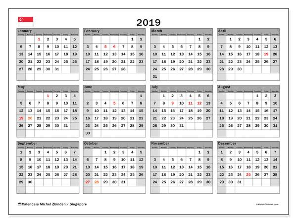 2019 Calendar, with the holidays of Singapore. Holidays calendar to print free.
