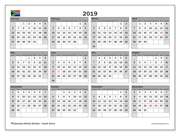 calendar 2019 with the holidays of south africa monthly planner to print free