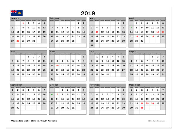 Calendar 2019, with the holidays of South Australia. Free printable monthly calendar.