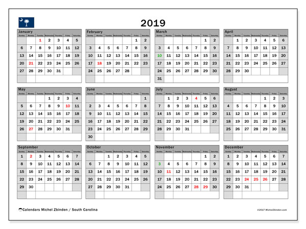 Calendar 2019, with the holidays of South Carolina. Bullet journal to print free.