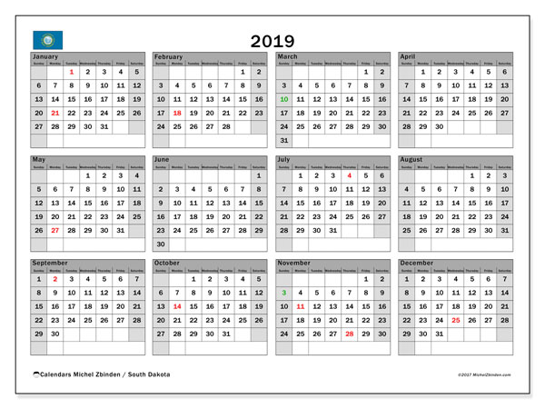 2019 Calendar, with the holidays of South Dakota. Free printable calendar with public holidays.