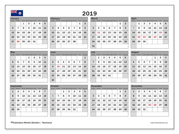 2019 Calendar, with the holidays of Tasmania. Holidays calendar to print free.