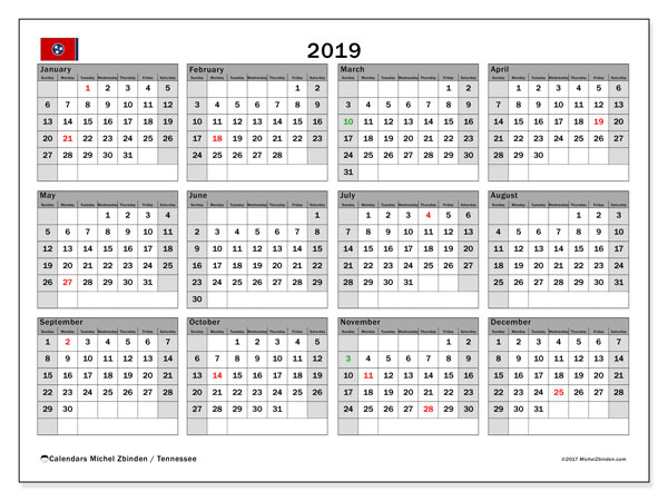 2019 Calendar, with the holidays of Tennessee. Free printable calendar with public holidays.