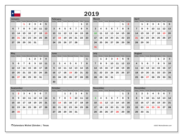 2019 Calendar, with the holidays of Texas. Free printable calendar with public holidays.