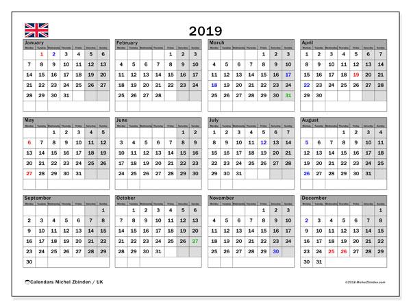 Calendar  2019, uk