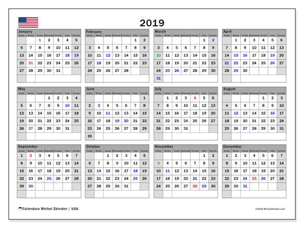 2019 Calendar, with the holidays of the USA. Free printable calendar with public holidays.
