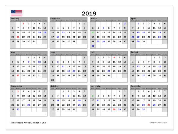 Calendar  2019, usa