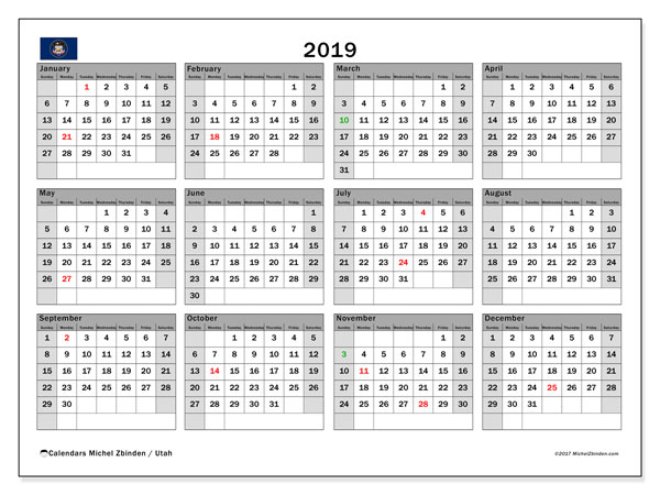 Calendar 2019, with the holidays of Utah. Free calendar to print.