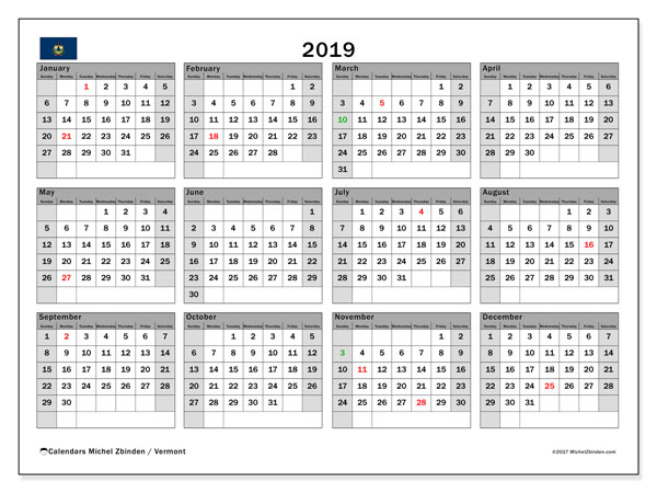 Calendar 2019, with the holidays of Vermont. Free printable calendar.