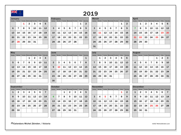 2019 Calendar, with the holidays of Victoria. Holidays calendar to print free.
