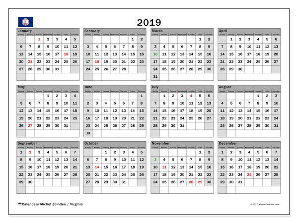 2019 Calendar, with the holidays of Virginia. Free printable calendar with public holidays.