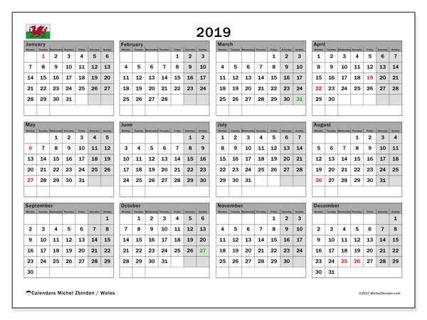 Calendar 2019, with the holidays of Wales. Planner to print free.