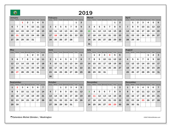 2019 Calendar, with the holidays of Washington. Holidays calendar to print free.