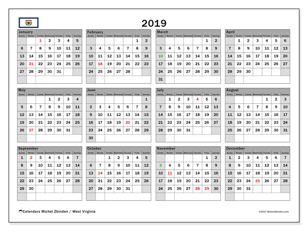 2019 Calendar, with the holidays of West Virginia. Holidays calendar to print free.