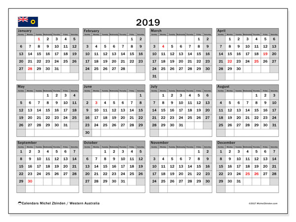 Calendar 2019, with the holidays of Western Australia. Planner to print free.
