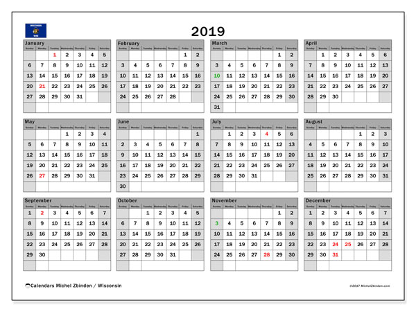 2019 Calendar  - Wisconsin. Printable calendar: bank holidays.