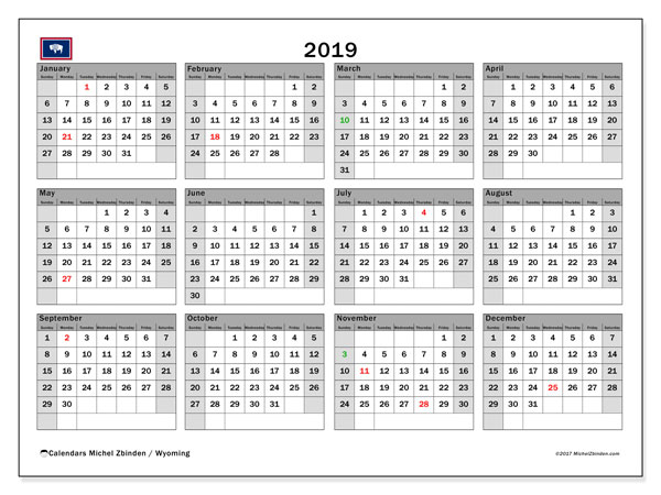2019 Calendar, with the holidays of Wyoming. Free printable calendar with public holidays.