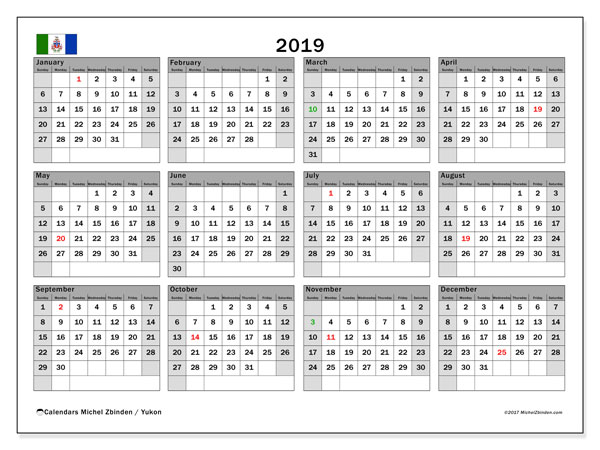 Calendar 2019, with the holidays of Yukon. Free printable monthly planner.