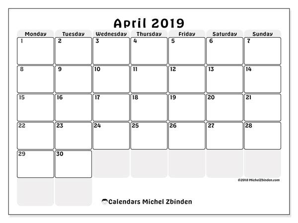 Calendar  April 2019, 44MS