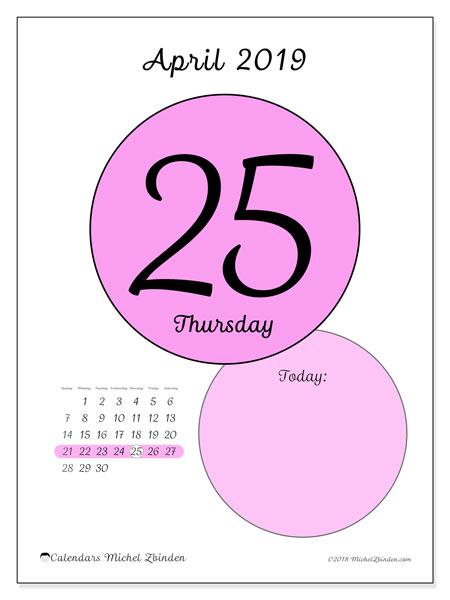 April 2019 Calendar, 45-25SS. Free printable daily calendar.