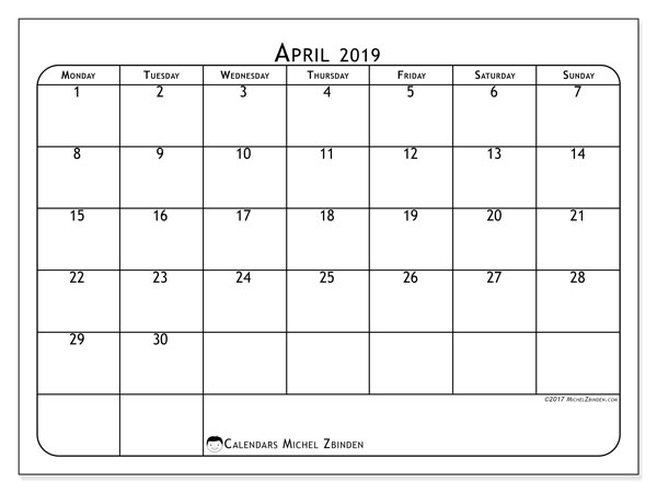 April 2019 Calendar, 51MS. Calendar for the month to print free.