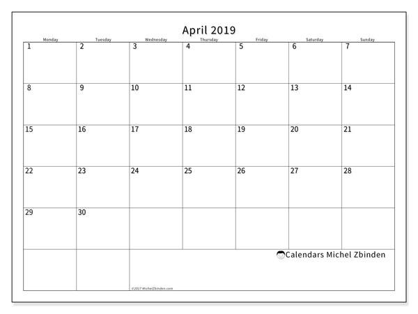 Calendar  April 2019, 53MS