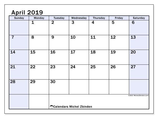 Calendar  April 2019, 57SS